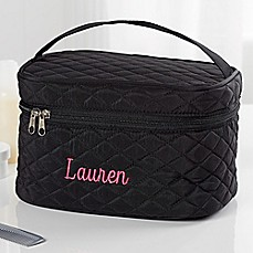 image of Embroidered Quilted Train Case in Black
