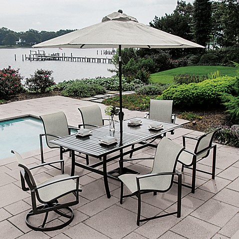 Agio Savoye 7 Piece Outdoor Dining Set In Charcoal Bed