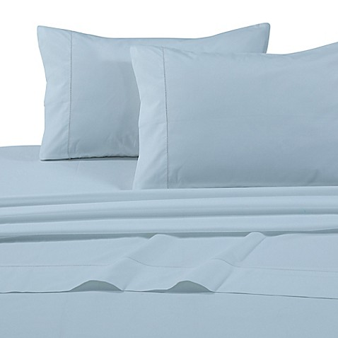 buy tribeca living solid 500 thread count extra deep pocket queen sheet set in sky blue from bed. Black Bedroom Furniture Sets. Home Design Ideas