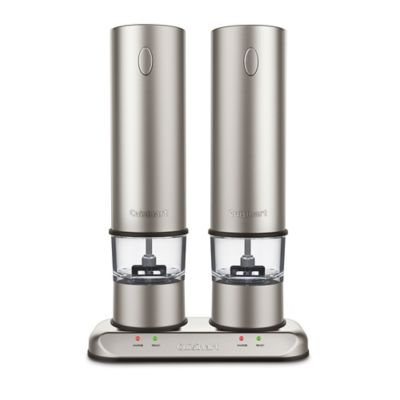 Cuisinart Rechargeable Electric Salt Pepper Mill Set in Brushed