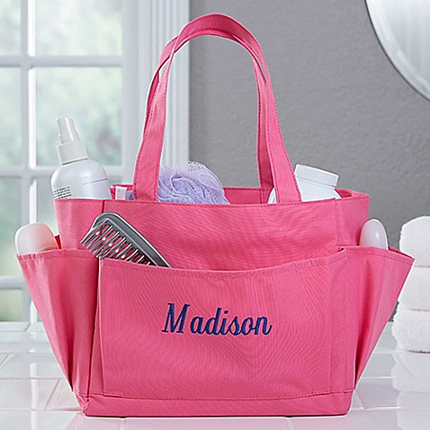Pink Perfection Embroidered Name Shower Caddy - Bed Bath & Beyond