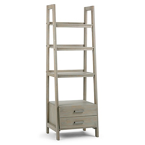 simpli home sawhorse 72 inch ladder shelf bookcase with storage drawers bed bath beyond. Black Bedroom Furniture Sets. Home Design Ideas