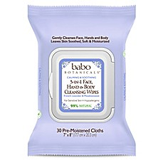 image of babo Botanicals® 30-Count 3-in-1 Calming Face, Hand and Body Wipes in Lavender & Meadowsweet