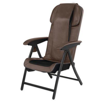 HoMedics FoldAway Massaging Shiatsu Lounge Chair in Brown Bed