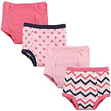 image of Luvable Friends 4-Pack Chevron Toddler Training Pants in Light Pink