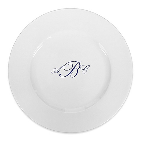 93 West Maison Rimmed Charger Plate in White/Blue