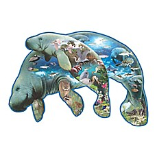 image of SunsOut 1000-Piece Manatees Shaped Jigsaw Puzzle