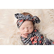 image of Tiny Blessings Boutique Swaddle Blanket and Headband Set in Grey