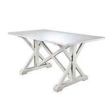 image of Southern Enterprises Cardwell Distressed Farmhouse Dining Table