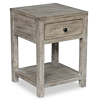 image of Pulaski Reclaimed Wood Side Table in Whitewash Finish. Accent   End Tables  Glass  Metal   Wood End Tables   Bed Bath