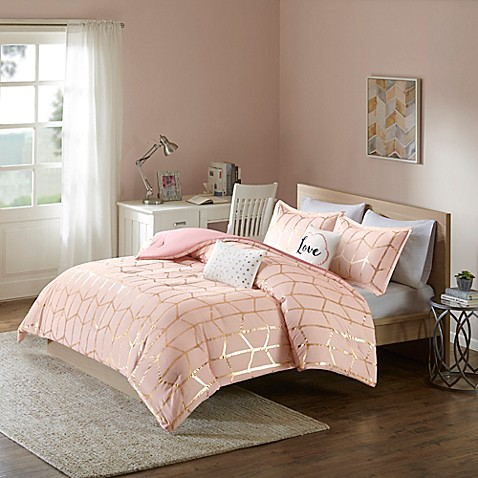 Coral And Gold Twin Bedding