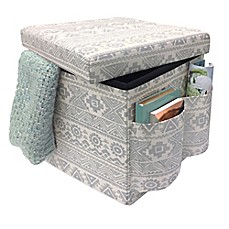 image of Sit & Store Folding Storage Ottoman in Silver