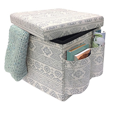 Buy sit store folding storage ottoman in silver from bed for Ottoman to sit on