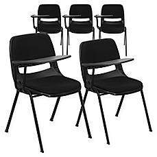 Flash Furniture Padded Chairs With Right Flip Up Tablet Arms In Black (Set  Of