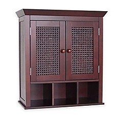 image of Elegant Home Fashions Cathy 2-Door Wall Cabinet with Cubbies in Brown