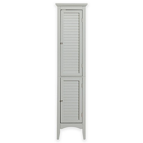 Elegant Home Fashions Hanna Linen Tower Cabinet With 2 Shutter Doors In Grey Bed Bath Beyond