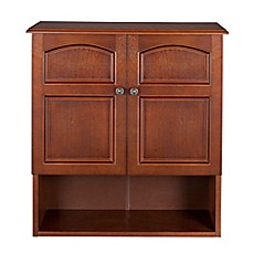 image of Elegant Home Fashions Martha 2-Door Wall Cabinet in Mahogany