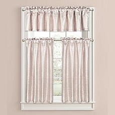 image of colordrift celina metallic bathroom window curtain and valance collection