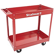 image of Stalwart Heavy Duty Metal Supply Cart in Red