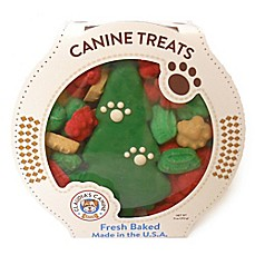 image of Claudia's Canine Bakery 11 oz. Christmas Tree Favorite Mix Tub of  Dog Treats
