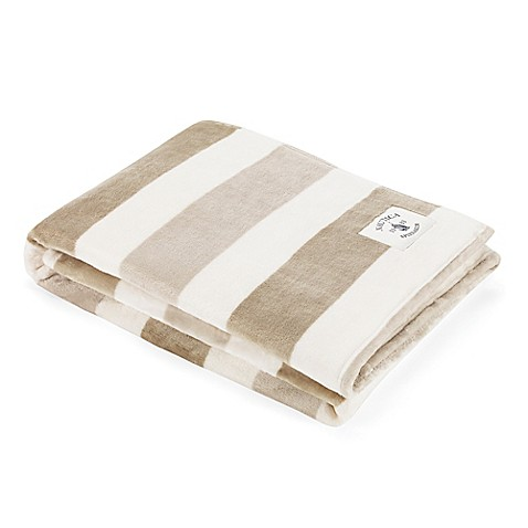 Nautica 174 Awning Stripe Ultra Soft Plush Throw Blanket