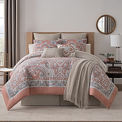 Bridge Street Paisley Medallion 7-piece Queen Comforter Set in Spice