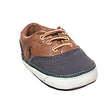 image of Ralph Lauren Layette Oxford-Style Canvas Sneakers in Navy