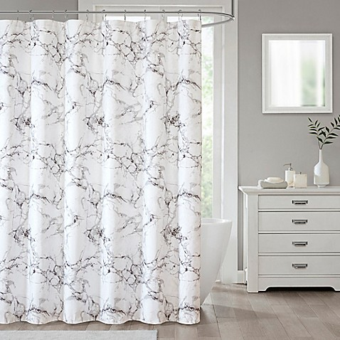 Marble Shower Curtain in Silver - Bed Bath & Beyond