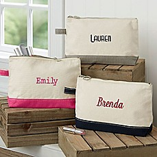 image of Embroidered Canvas Name Makeup Bag