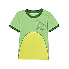 image of Doodle Pants® Dino on a Bike T-Shirt in Green