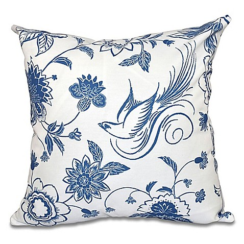 Bird and Floral Print Square Throw Pillow - Bed Bath & Beyond