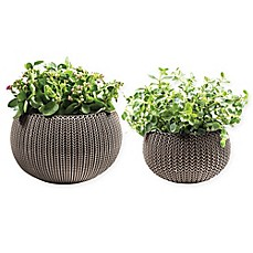 image of Keter® Cozies Knit 2-Piece Round Resin Indoor/Outdoor Planter Set