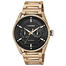 image of Citizen Drive Men's 42mm Watch in Rose Goldtone Stainless Steel with Black Dial