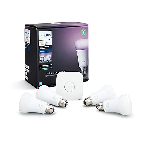 philips hue white and color ambiance a19 4 bulb starter kit bed bath beyond. Black Bedroom Furniture Sets. Home Design Ideas