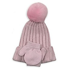 image of Curls & Pearls Faux Fur Hat and Mitten Set