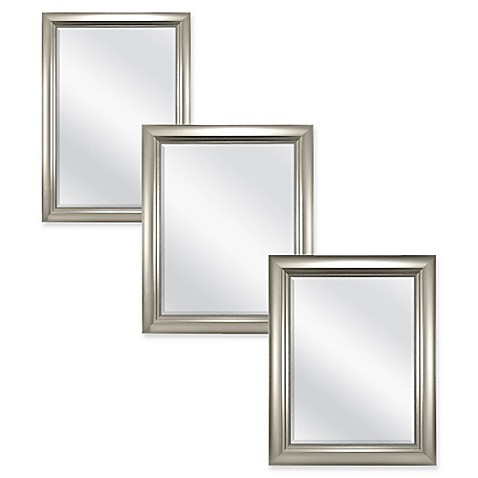 Carson wall mirror in brushed nickel bed bath beyond for Bathroom mirrors brushed nickel
