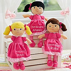 image of Stephen Joseph® Pretty Pink Embroidered Doll