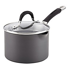 image of Circulon® Momentum™ Hard Anodized Nonstick 2 qt. Covered Straining Saucepan