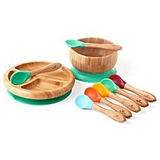 image of Avanchy Bamboo + Silicone Baby Bowl and Plate Set with Spoons