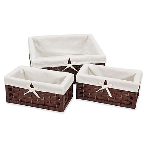 Household Essentialsu0026reg; 3 Piece Paper Rope Decorative Storage Basket Set  In Brown