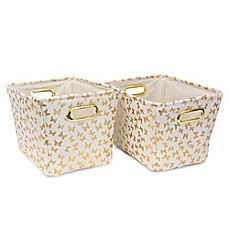 image of Closet Complete 2-Piece Butterfly Tote Canvas Set in Metallic Gold