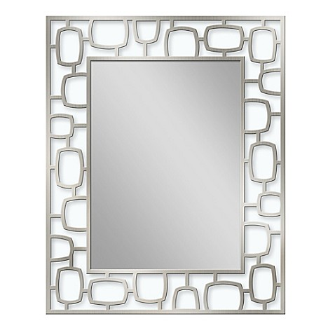 Metal 24 Inch X 30 Inch Oblong Frame Mirror In Brushed