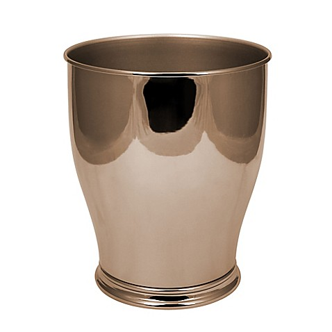 Hammond waste basket in gold bed bath beyond for Gold bathroom wastebasket