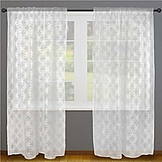 image of Design Imports Lace Rod Pocket Window Curtain Panel Pair