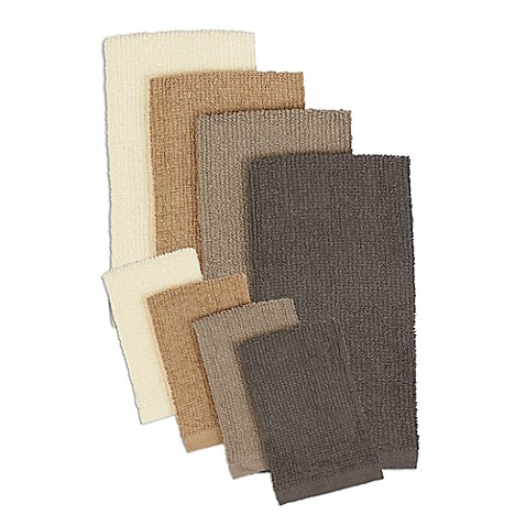 design imports 8-piece terry kitchen towel and bar mop dish cloth
