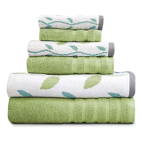buy pacific coast textiles 6 piece organic vines towel set in sage green from bed bath beyond. Black Bedroom Furniture Sets. Home Design Ideas