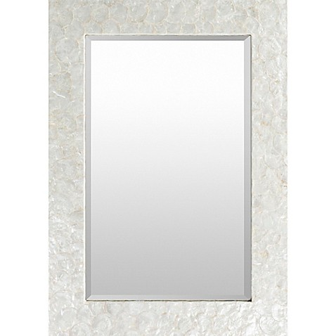 Yelverton 40 inch x 28 inch rectangular wall mirror in white bed bath beyond for White rectangular bathroom mirror