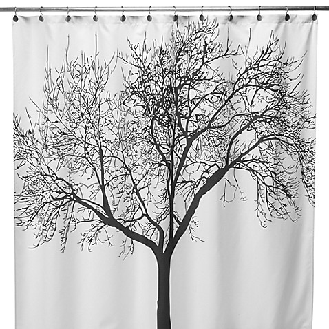 Black Tree Fabric 70 Inch X 72 Shower Curtain