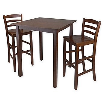 image of parkland 3 piece high table dining set in antique walnut - Pub Style Dining Sets