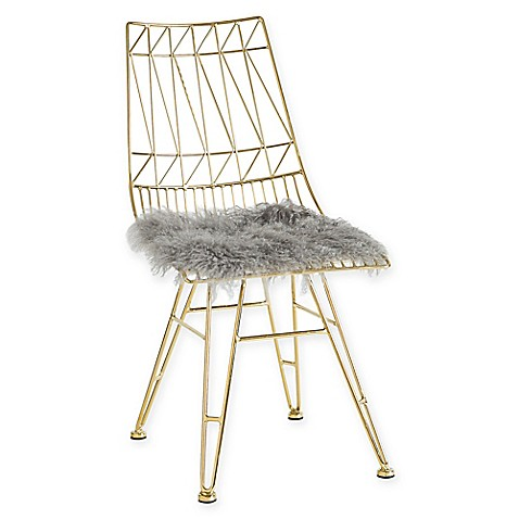 TOV Furniture Allure Gold Steel Chairs With Sheepskin Seats (Set Of 2)